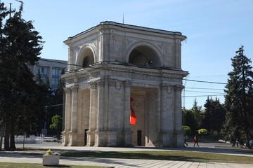 Triumphal arch in Kishinev (Chisinau) Moldova