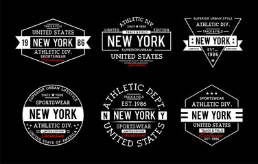 Set New York Typography Design For T-shirt print
