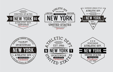 Set typography style New York For t-shirt graphic, vector image