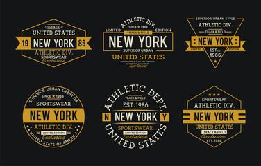 Set athletics sport typography design t-shirt graphic, vector