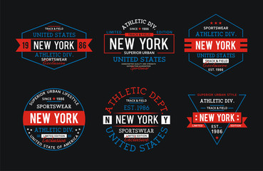 Set athletic New York City for t-shirt graphic, vector
