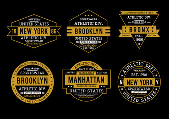 Set athletic sports typography design for t-shirt print