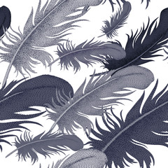 Vector seamless pattern with bird feathers.