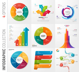 Infographic collection of 4 options vector templates