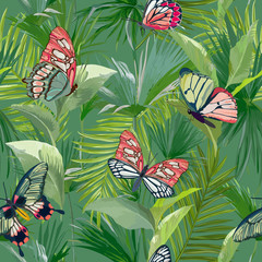Tropical Palm Leaves Seamless Pattern. Jungle Background with Exotic Butterflies. Floral Fashion Design for Fabric, Textile. Vector illustration