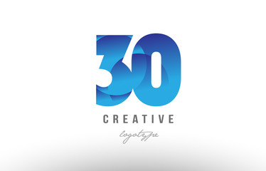 30 blue gradient number numeral digit logo icon design