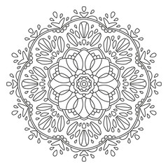 Mandala Shape for Coloring. Vector Mandala. Floral. Flower. Oriental. Book Page. Outline.