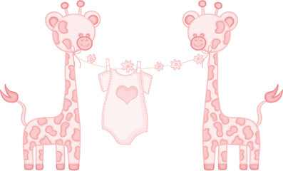 Pink baby girl giraffe