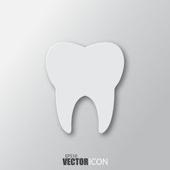 Tooth icon in white style with shadow isolated on grey background.