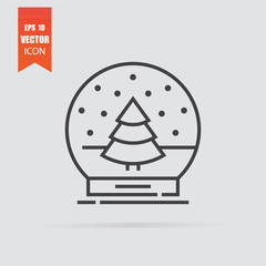 Snow globe icon in flat style isolated on grey background.