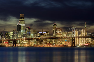 San Francisco Skyline in Holiday Lights. Taken from Middle Harbor Shoreline Park, Oakland, California, USA.