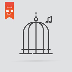 Bird cage icon in flat style isolated on grey background.