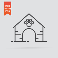 Doghouse icon in flat style isolated on grey background.