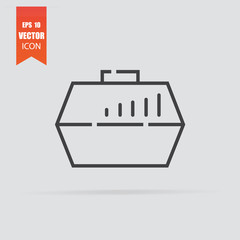 Pet carry case icon in flat style isolated on grey background.