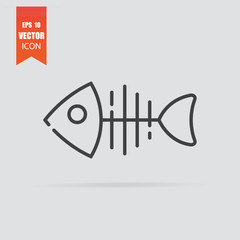 Fish bone icon in flat style isolated on grey background.