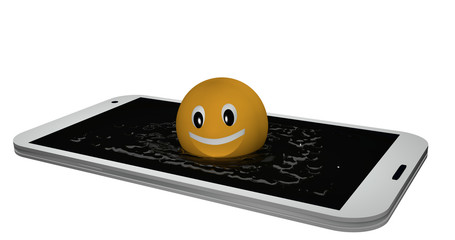 Emoticon jumps into a display of water.