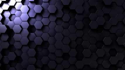 Dark hexagonal loopable background. 3D rendering