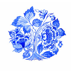 Delft blue style watercolour illustration. Traditional Dutch floral motif, peony flowers in rosette composition, cobalt on white background. Element for your design.