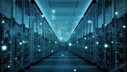 Fototapeta Server room center exchanging cyber datas 3D rendering