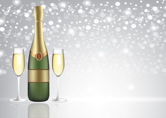 Champagne bottle with two full glasses on blurred background, vector