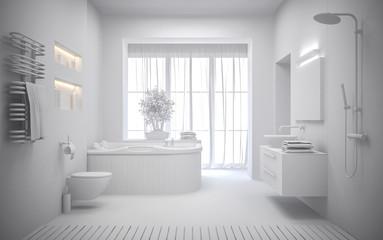 white Interior of the modern bathroom 3D rendering
