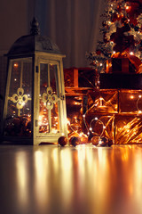 Photo of a New Year's garland abstract sparks./Beautiful Rasfokus lights of Christmas garlands.
