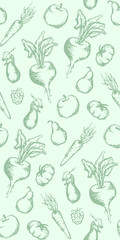 Vegetable fruit monochrome ink hand drawn set seamless pattern texture background vector