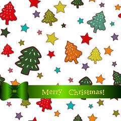 Seamless pattern with colorful vintage hand draw Christmas trees and stars
