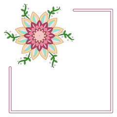 Vector illustration of a frame with colored flower