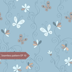Seamless l flower background with vintage hand  draw flowers, curls and butterflies