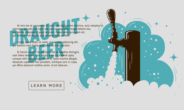 Draught Beer Tap With Foam Web Banner Design For Promotion.
