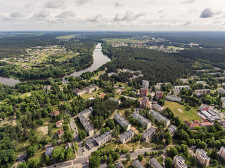 Aerial view over a spa town Druskininkai on the Nemunas river in southern Lithuania, close to the borders of Belarus and Poland. During sunny summer day.