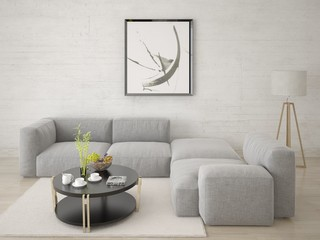 Mock up the living room with a comfortable corner sofa and a light stylish background.