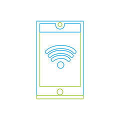color line smartphone technology with wifi connection symbol