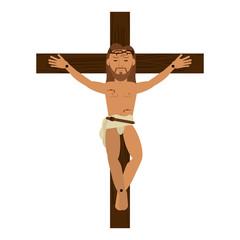 crucified Jesus cartoon icon vector illustration graphic design
