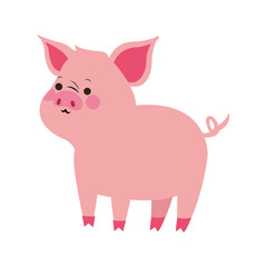 Pig cute cartoon icon vector illustration graphic design