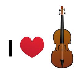 I love violin vector icon