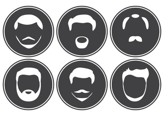 Set of face, hairstyles, beards and mustaches. Round icons, white silhouette on dark gray background. Vector illustration.