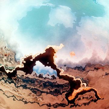 Mars desert lake fantasy landscape vision
