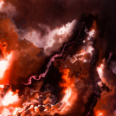 Burning flames, dark red sky storm clouds or smoke