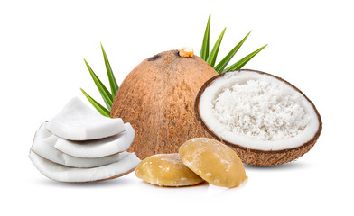 Coconut and sugar isolated on white background