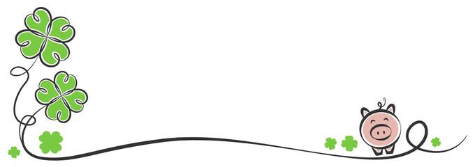Frohes neues Jahr Silvester Strich Zeichnung mit Klee und Schwein