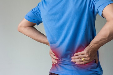 asian man have back pain with copy space