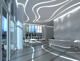 3D Illustration the modern office interior design