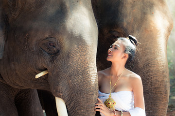 Beautiful Thai woman in historical dressing with Thai elephant in Surin, Thailand.