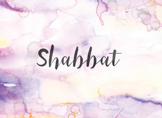 Shabbat Concept Watercolor and Ink Painting