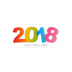 Happy New Year 2018. Modern design with colorful text, vector illustration