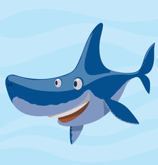 Vector cartoon image of a funny smiling blue shark on a light blue sea background. Sea life. Vector illustration.