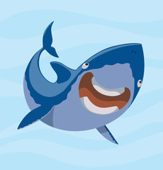 Vector image of cartoon funny laughing blue shark on a light blue sea background. Sea life. Vector illustration.