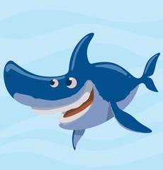 Vector image of cartoon funny happy blue shark on a light blue sea background. Sea life. Vector illustration.